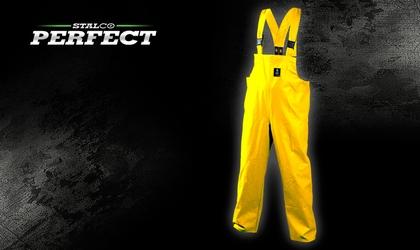 Spodnie przeciwdeszczowe na szelkach - żółte
